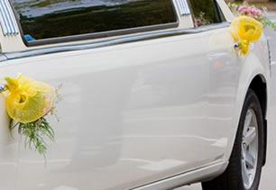 Flowers attached to limo