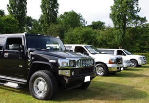 Four styles of limousine lined up for photos near Coventry